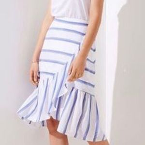 LOFT striped ruffled skirt